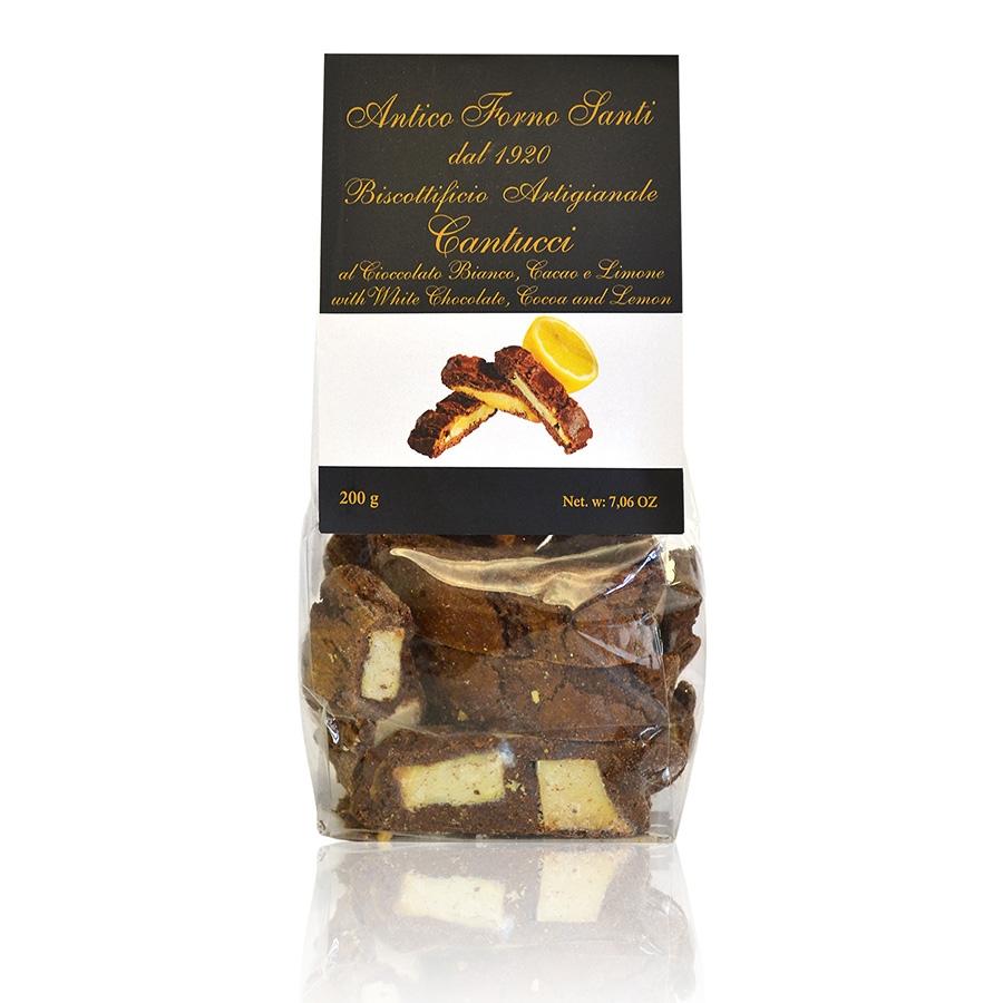 Cantucci al Cioccolato Bianco, Cacao e Limone Antico Forno Santi g 200
