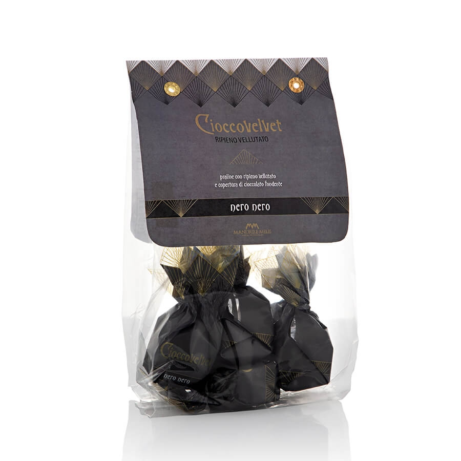 """Pralina """"Nero Nero"""" al Cioccolato Fondente con Ripieno Vellutato Fondente Mandrile Melis g 120"""