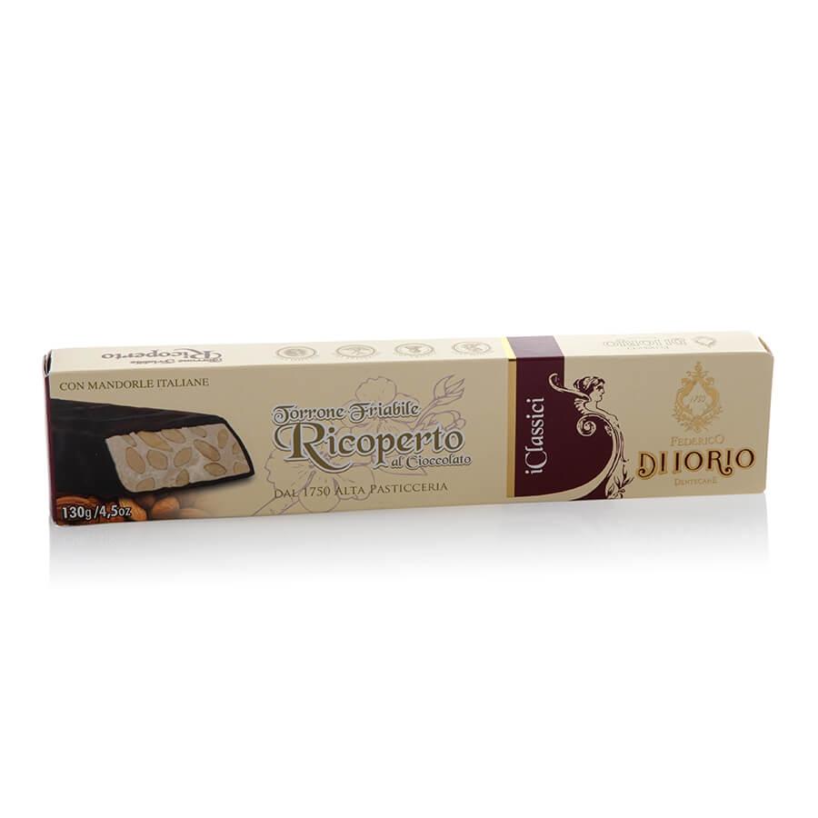 Torrone Friabile alla Mandorla Ricoperto di Cioccolato Puro Fondente Di Iorio g 130