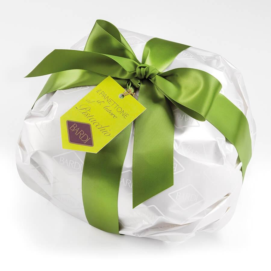 Panettone di Pasticceria con Crema al Pistacchio Ricoperto di Cioccolato Bardi (Tipo Basso) incartato kg 1