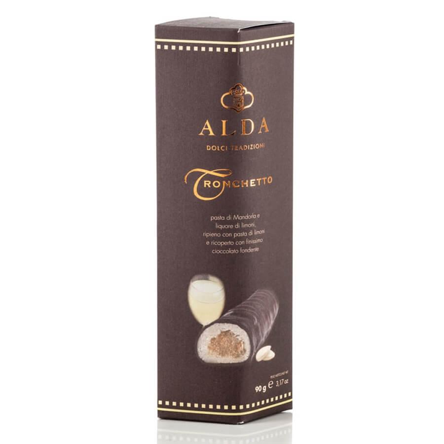 Tronchetto con Infuso di Limoncello Ricoperto di Cioccolato Fondente Alda g 90